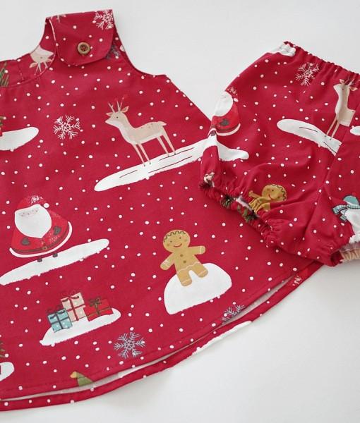 детска коледна червена рокля с гащички