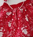 коледна детска пола в червено и бяло