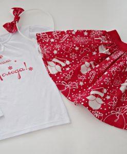 Детски коледен комплект пола и блуза в червено и бяло