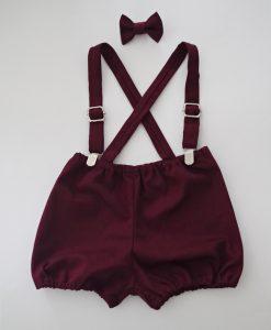 Бебешки панталонки с тиранти и папионка в бордо