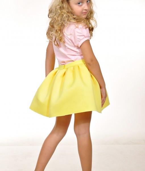 Детска жълта пола от неопрен