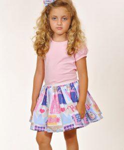 Детска лятна пола в розово и синьо