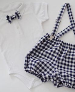 бебешки комплект с боди и панталонки в синьо и бяло каре