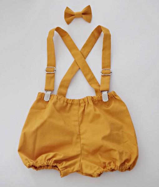 бебешки панталонки с тиранти и папионка в горчица