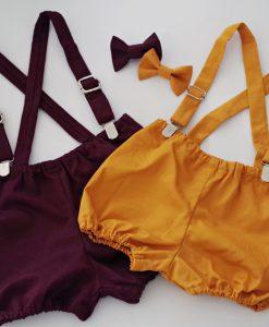 панталонки с тиранти и папионка бордо и горчица