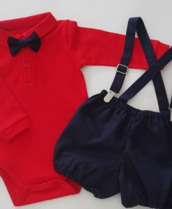 Бебешки комплект от боди и панталонки в синьо и червено