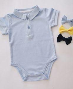 Бебешко синьо боди с якичка