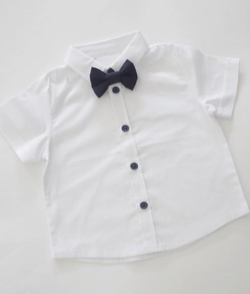 Бяла бебешка риза с къс ръкав