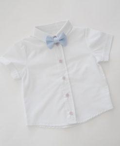 Бяла детска риза с къс ръкав