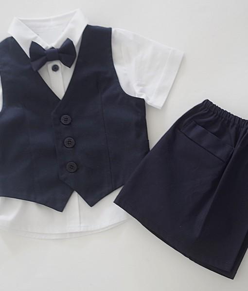 Официални дрехи за момче в тъмносиньо и бяло