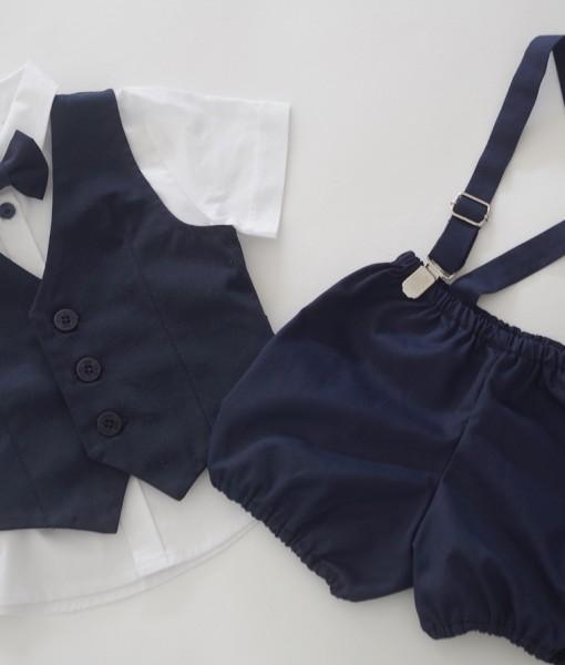 Официялен комплект за момче в синьо и бяло в 4 части