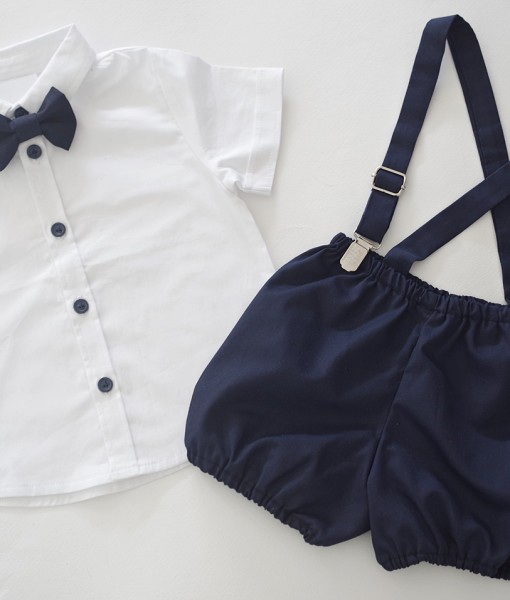 Риза и панталонки с тиранти за кръщене в бяло и синьо