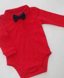 Червено детско боди ризка с дълъг ръкав