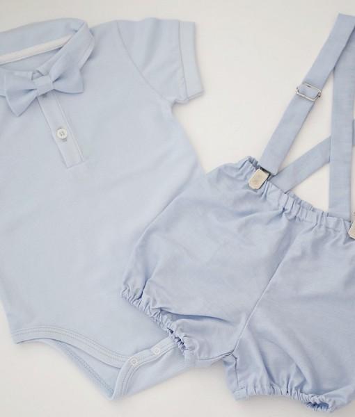 Бебешки комплект с боди и панталонки в синьо