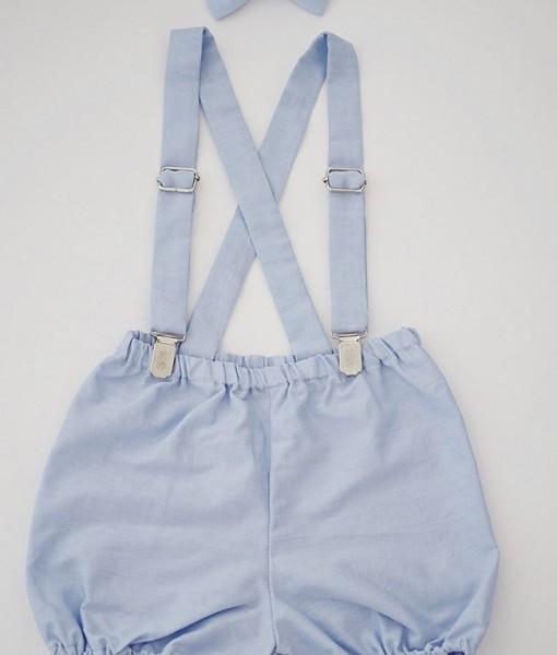 панталонки с тиранти и папионка светло синьо