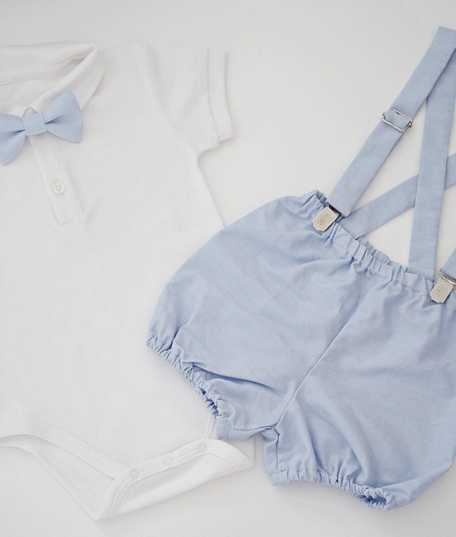 сет момче с бяло боди и сини шорти