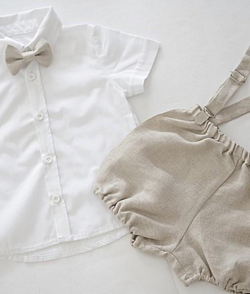 Бяла ризка с ленени панталонки и папионка