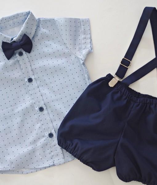 бебешки официален комплект с риза и панталонки в синьо