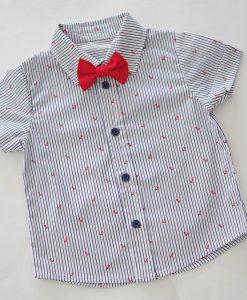 детска риза с морски мотиви и папионка