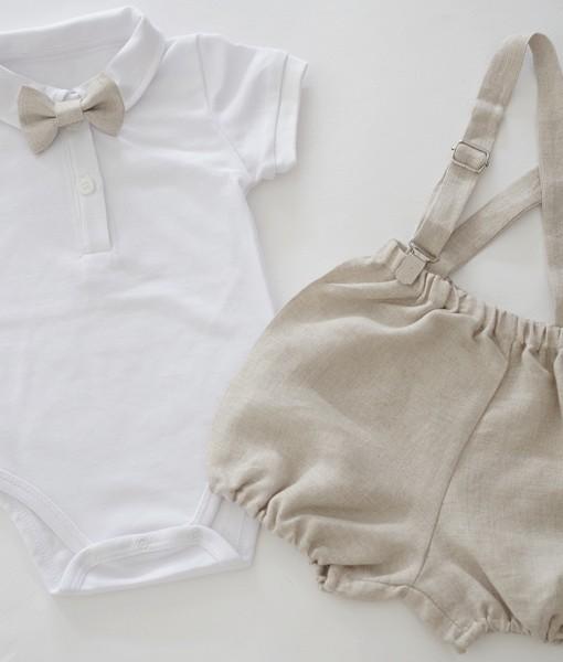 комплект за момче с боди и панталонки в екрю