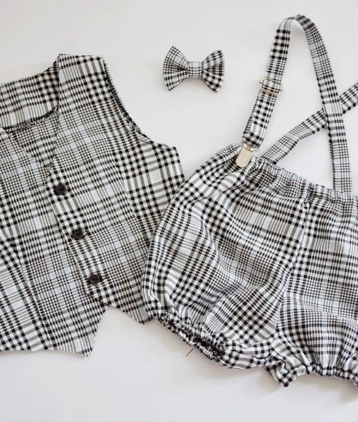 Бебешки официален комплект с елече и панталонки пепит