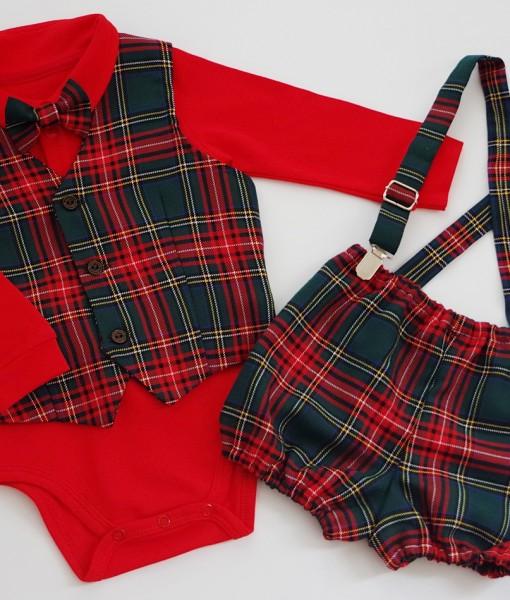 Коледен бебешки комплект с червено боди,елече и панталонки в зелено каре
