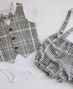 Бебешки официален комплект с боди,елече и панталонки в пепит