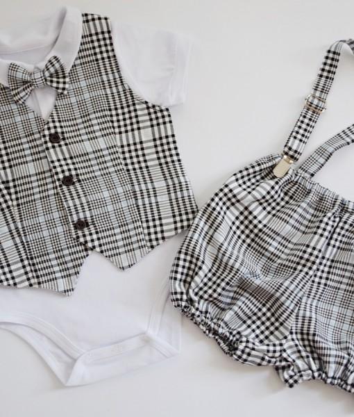 Официален бебешки комплект с елече,боди и панталонки Пепит
