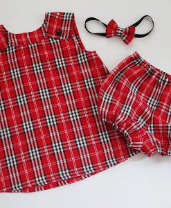 Детска коледна рокля с гащички в червено и бяло каре