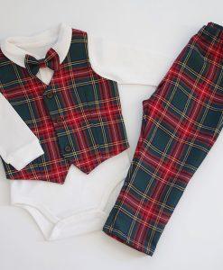 бебешки коледен комплект от 4 части в шотландско каре