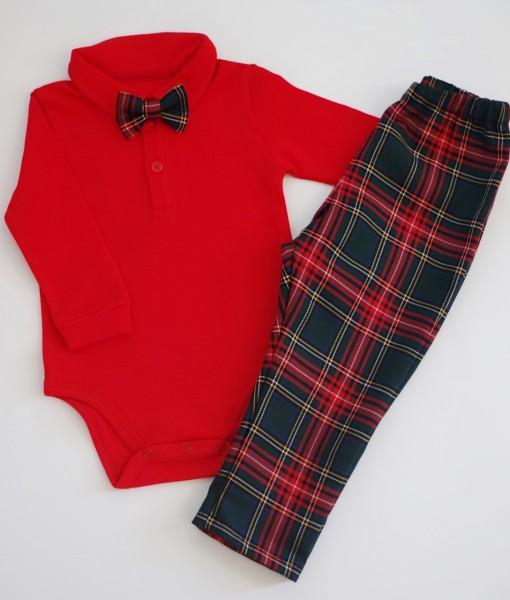 бебешки коледни дрехи за момче в червено и зелено