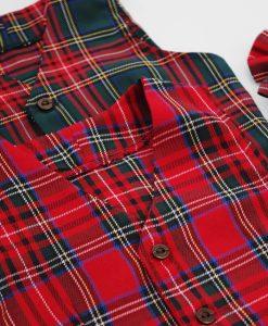 бебешко коледно елече шотландско каре 2 цвята