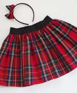 детска пола шотландско каре червено и зелено