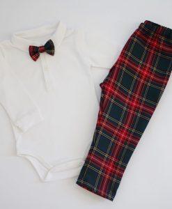 коледни дрехи за бебе с боди и панталон в шотландско каре