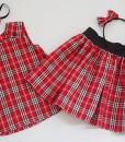 рокля и пола червено и бяло каре