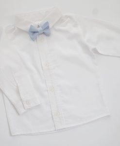 бяла детска риза с дълъг ръкав и папионка